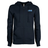 ENZA Ladies Navy Fleece Full Zip Hoodie-Saint Peters Peacock Nation Banner