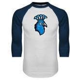 White/Navy Raglan Baseball T-Shirt-Peacock
