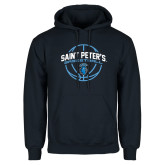 Navy Fleece Hoodie-Basketball Arched w/ Ball