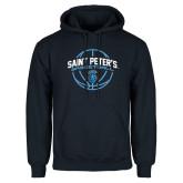 Navy Fleece Hoodie-Basketball Arched w/ Ball