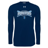 Under Armour Navy Long Sleeve Tech Tee-Peacocks Baseball Crossed Bats