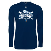 Under Armour Navy Long Sleeve Tech Tee-Peacocks Softball Crossed Bats
