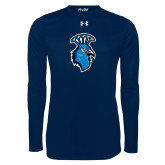 Under Armour Navy Long Sleeve Tech Tee-Peacock