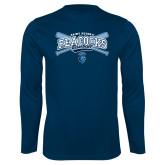 Syntrel Performance Navy Longsleeve Shirt-Peacocks Baseball Crossed Bats