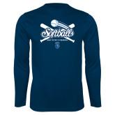 Syntrel Performance Navy Longsleeve Shirt-Peacocks Softball Crossed Bats