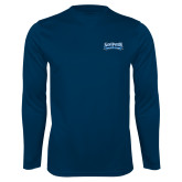 Syntrel Performance Navy Longsleeve Shirt-Saint Peters Peacock Nation Banner