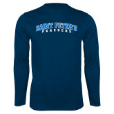 Performance Navy Longsleeve Shirt-Arched Saint Peters University