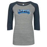 ENZA Ladies Athletic Heather/Navy Vintage Triblend Baseball Tee-Saint Peters Peacock Nation Banner