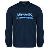 V Neck Navy Raglan Windshirt-Saint Peters Peacock Nation Banner