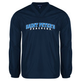V Neck Navy Raglan Windshirt-Arched Saint Peters University