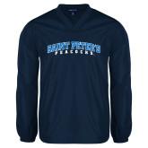V Neck Navy Raglan Windshirt-Arched Saint Peters University