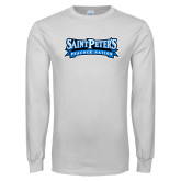 White Long Sleeve T Shirt-Saint Peters Peacock Nation Banner