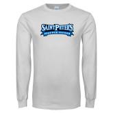 White Long Sleeve T Shirt-Saint Peters Peacock Nation Banner