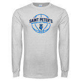 White Long Sleeve T Shirt-Basketball Arched w/ Ball