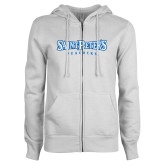 ENZA Ladies White Fleece Full Zip Hoodie-Saint Peters University