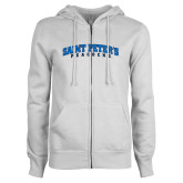 ENZA Ladies White Fleece Full Zip Hoodie-Arched Saint Peters University