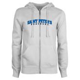 ENZA Ladies White Fleece Full Zip Hoodie-Arched Saint Peters University