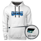 Contemporary Sofspun White Hoodie-Saint Peters Peacock Nation Banner