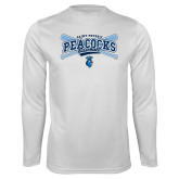 Syntrel Performance White Longsleeve Shirt-Peacocks Baseball Crossed Bats