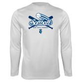 Syntrel Performance White Longsleeve Shirt-Peacocks Softball Crossed Bats