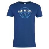 Ladies Royal T Shirt-Basketball Arched w/ Ball