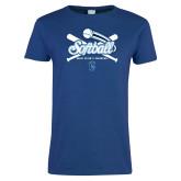 Ladies Royal T Shirt-Peacocks Softball Crossed Bats