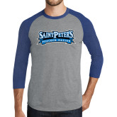 Grey/Royal Heather Tri Blend Baseball Raglan-Saint Peters Peacock Nation Banner