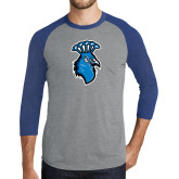 Grey/Royal Heather Tri Blend Baseball Raglan-Peacock