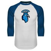 White/Royal Raglan Baseball T Shirt-Peacock