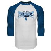 White/Royal Raglan Baseball T Shirt-Peacocks Baseball Crossed Bats
