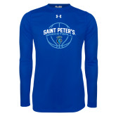 Under Armour Royal Long Sleeve Tech Tee-Basketball Arched w/ Ball