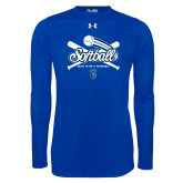 Under Armour Royal Long Sleeve Tech Tee-Peacocks Softball Crossed Bats