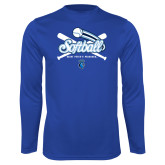 Syntrel Performance Royal Longsleeve Shirt-Peacocks Softball Crossed Bats