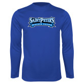 Performance Royal Longsleeve Shirt-Saint Peters Peacock Nation Banner