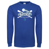 Royal Long Sleeve T Shirt-Peacocks Softball Crossed Bats