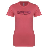 Next Level Ladies SoftStyle Junior Fitted Pink Tee-Saint Peters University Foil