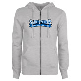 ENZA Ladies Grey Fleece Full Zip Hoodie-Saint Peters Peacock Nation Banner