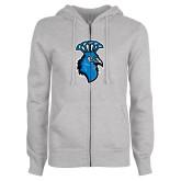 ENZA Ladies Grey Fleece Full Zip Hoodie-Peacock
