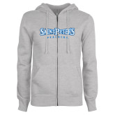 ENZA Ladies Grey Fleece Full Zip Hoodie-Saint Peters University
