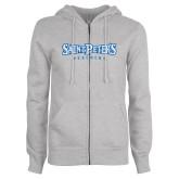 ENZA Ladies Grey Fleece Full Zip Hoodie-Saint Peters University