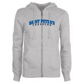 ENZA Ladies Grey Fleece Full Zip Hoodie-Arched Saint Peters University