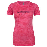 Next Level Ladies Junior Fit Fuchsia Burnout Tee-Saint Peters University Foil
