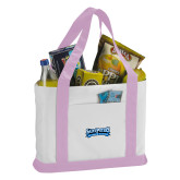 Contender White/Pink Canvas Tote-Saint Peters Peacock Nation Banner