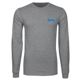 Grey Long Sleeve T Shirt-Saint Peters Peacock Nation Banner