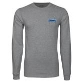 Grey Long Sleeve T Shirt-Saint Peters Peacock Nation Banner