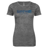Next Level Ladies Junior Fit Dark Grey Burnout Tee-Saint Peters University Foil