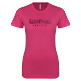 Ladies SoftStyle Junior Fitted Fuchsia Tee-Saint Peters University Foil