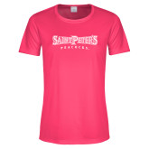 Ladies Performance Hot Pink Tee-Saint Peters University