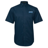 Navy Twill Button Down Short Sleeve-Saint Peters Peacock Nation Banner