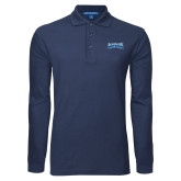 Navy Long Sleeve Polo-Saint Peters Peacock Nation Banner